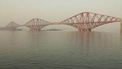 The Forth Bridge (or Forth rail bridge) near Edinburgh, Scotland. Stock Footage