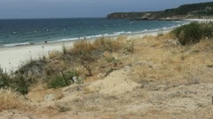 Spain Galicia Playa Pregueira dune buoys cove 2 Stock Footage