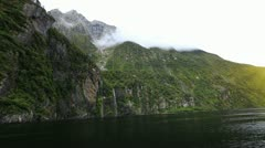 View on Milford Sound Fjord - stock footage