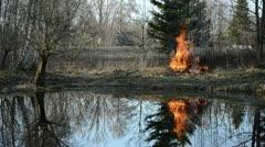 Spring fire in garden near pond Stock Footage