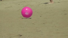 Pink Beach ball in the Wind Stock Footage