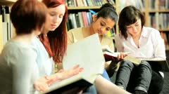 Workshop of students studying literature in college  Stock Footage