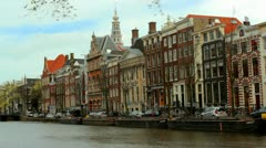 Timelapse - Typical house fronts at Canal / Gracht in Amsterdam, Netherlands Stock Footage
