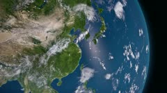 Earth 3d view from space. Asia. Stock Footage