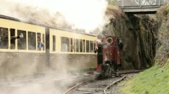 Narrow gauge railway leaving devils bridge Stock Footage