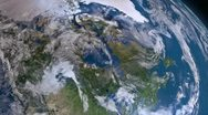 Stock Video Footage of Earth 3d view from space. Canada.