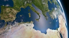 Earth 3d view from space. Mediterranean. Stock Footage