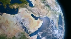 Earth 3d view from space. Middle East. - stock footage