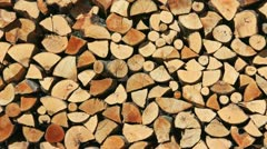 Cut wood stock pile for winter fire Stock Footage