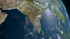 Earth 3d view from space. South Asia. Stock Footage