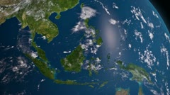 Earth 3d view from space. South East Asia. Stock Footage