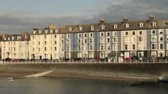 Aberystwyth houses along the promenade Stock Footage
