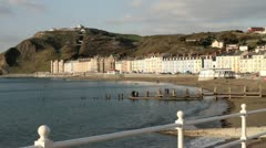 Aberystwyth beach and marine terrace Stock Footage