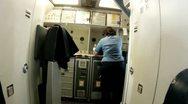 Airplane galley lavatory flight attendant female working jobs career people life Stock Footage