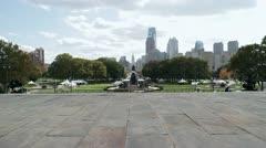 Rocky Steps at the Philadelphia Museum of Art in Philadelphia, USA Stock Footage