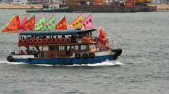 Boat Parade in Hong Kong Victoria Harbour Stock Footage