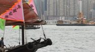 Hong Kong's traditional sailing junk Stock Footage