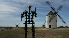 Spain Castile Mota del Cuervo windmills 6 - stock footage
