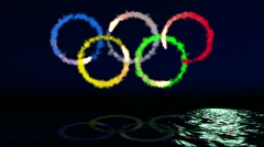 Olympic emblem on the sea Stock Footage