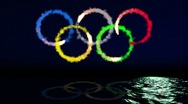 Stock Video Footage of Olympic emblem on the sea