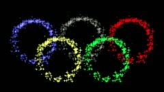 Olympic  emblem by star particles with alpha matte bacground Stock Footage