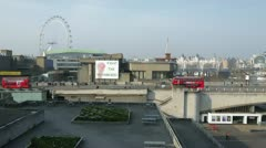 Royal Festival Hall and Traffic on Waterloo Bridge in London Stock Footage