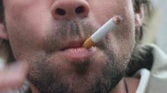 Smoking addict- close up Stock Footage