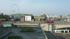 Southbank  Centre and Traffic on Waterloo Bridge in London - stock footage
