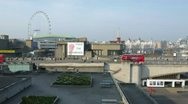 Stock Video Footage of Southbank  Centre and Traffic on Waterloo Bridge in London
