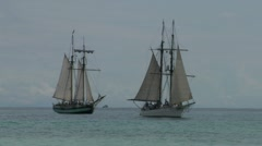 schooner battle - stock footage