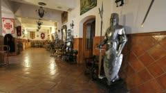 Spain Castile Calzada de Calatrava Hospederia knights in hall 2 Stock Footage
