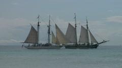 Schooner battle Stock Footage