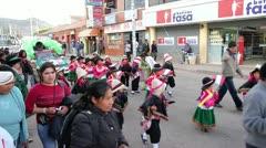 Andean children dance in the Virgen del Rosario Festival in Cuzco, Peru Stock Footage