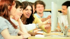 Happy classmates e-learning with tutor in IT hub  Stock Footage