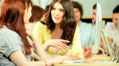 Friends social networking on university lecture   - stock footage