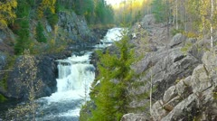 Waterfall Kivach in Karelia, Russia Stock Footage