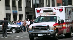 Ambulance 911 car emergency medical rush New York City FDNY Stock Footage
