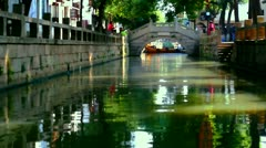 Boat movement in Tongli watertown near Sozhou, China - stock footage