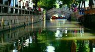 Boat movement in Tongli watertown near Sozhou, China Stock Footage