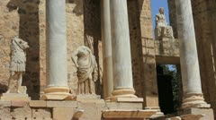 Spain Merida Roman theater wtih statues Stock Footage