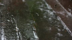 Rain drops on old weathered wood Stock Footage