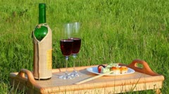 picnic - table with wine and japanese food - stock footage