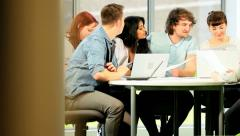 Diverse students degree with technical support  Stock Footage
