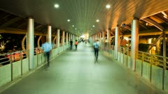 Timelapse - Pedestrians in Skytrain walkway Stock Footage