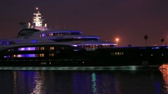 SuperYacht (M/Y) Serene - Night Stock Footage