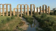 Stock Video Footage of Merida Aqueduct of the Miracles reflection 2