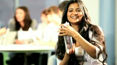 Portrait of Indian classmate have fun on IT lecture   - stock footage
