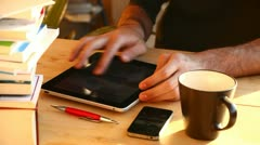 Watching photos on tablet - stock footage