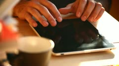 Writing sms/email on tablet - stock footage