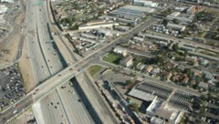 Aerial view of traffic in Los Angeles, CA Stock Footage